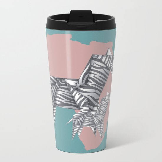 ZEBRAS (Origami animals) Metal Travel Mug