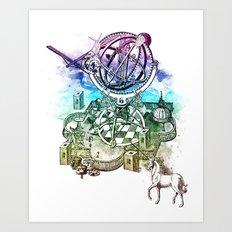 strange unicorn garden Art Print