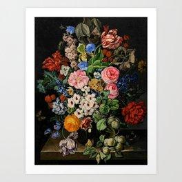 Parrot Tulips, Roses, Dahlias, Zinnia & Fig Bouquet  (Flowers of the Imagination) by Rachel Ruysch Art Print