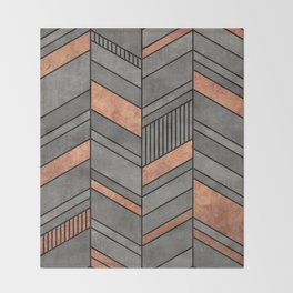 Abstract Chevron Pattern - Concrete and Copper Throw Blanket