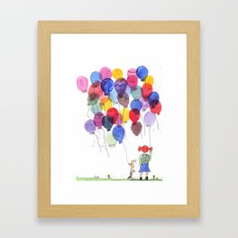 girl with balloons whimsical watercolor illustration Framed Art Print