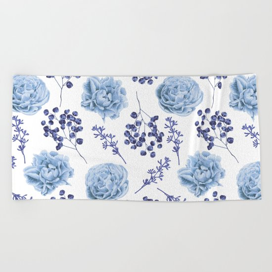 Sky Blue Roses Beach Towel
