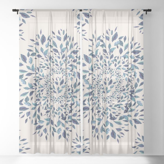Indigo Leaves Mandala Sheer Curtain