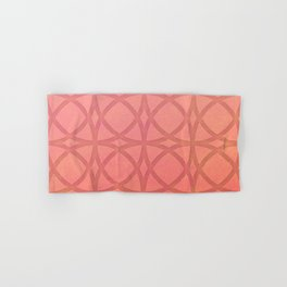 coral pink minimal pattern with geometric lines Hand & Bath Towel
