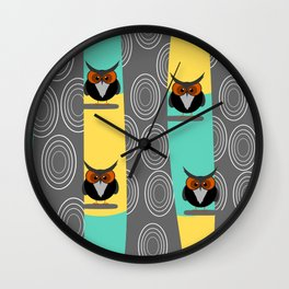 Owls in trees Wall Clock