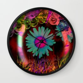Tripping Daisies Wall Clock