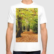 Autumn in the Forest White Mens Fitted Tee MEDIUM