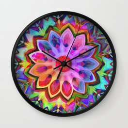 Rainbow Flower Pink Wall Clock