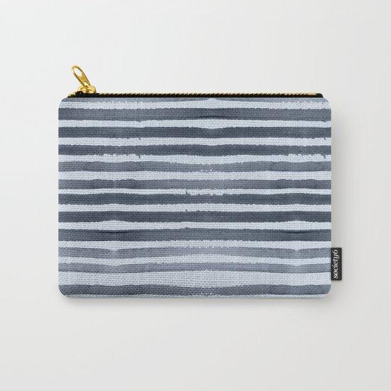 Simply Shibori Stripes Indigo Blue on Sky Blue Carry-All Pouch