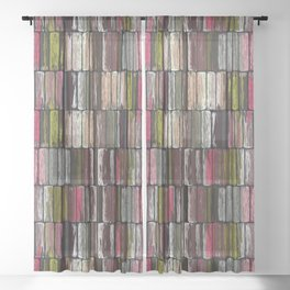 Colored Weathered Wood Board Panel Sheer Curtain