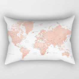 "Rose gold world map with cities, ""Hadi"" Rectangular Pillow"