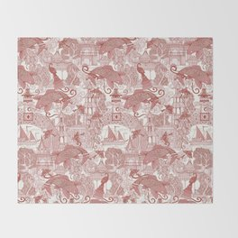 chinoiserie toile red Throw Blanket
