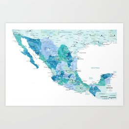 Detailed map of Mexico with states, aquamarine blue Art Print