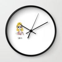 lolita Wall Clocks featuring Lolita by Gabriela Sá