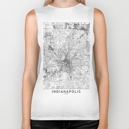 Indianapolis White Map Biker Tank