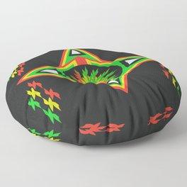 star  rasta mandala patt Floor Pillow