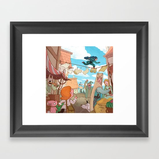 The Little Scribe: Thief!  Framed Art Print