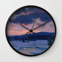 Clarence Gagnon - Crépuscule d'hiver - Winter Twilight, Baie St. Paul - Canadian Oil Painting Wall Clock