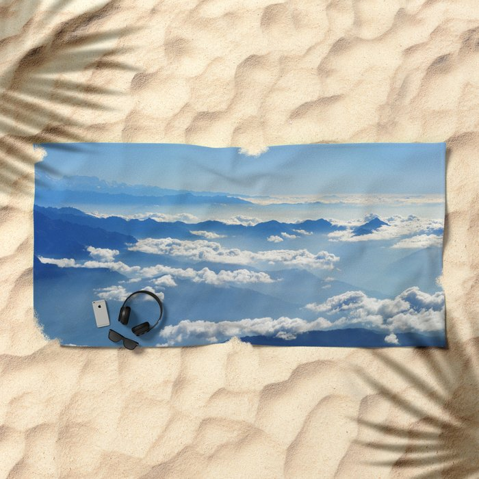 Mountains and Clouds in Nepal Beach Towel