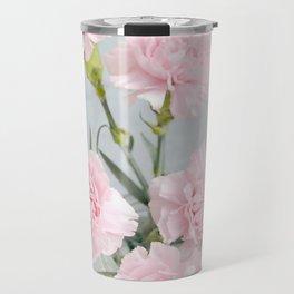 Elegant modern blush pink green carnations floral Travel Mug