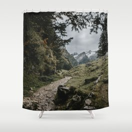 Path to Seealpsee lake in Switzerland mountains Shower Curtain