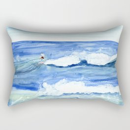 """""""Surfing"""" Watercolor on yupo paper Rectangular Pillow"""