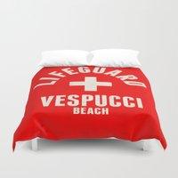 grand theft auto Duvet Covers featuring Los Santos Vespucci Beach Lifeguard Grand Theft Auto by KeenaKorn