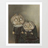 Rucus Studio Ghoul Kids Pumpkins Art Print