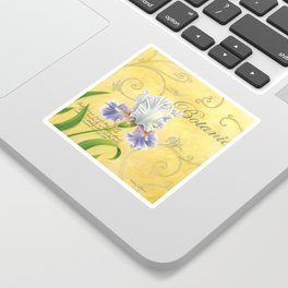 Purple and White Iris Sticker