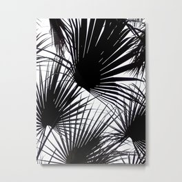 Black and White Tropical Leaves Metal Print