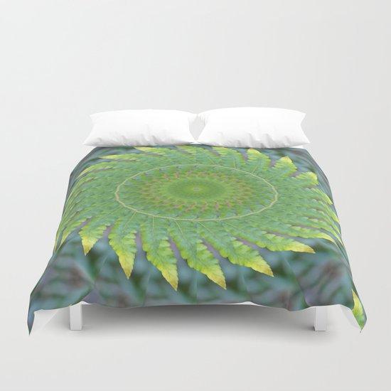 Palm Frond Kaleidoscope Duvet Cover
