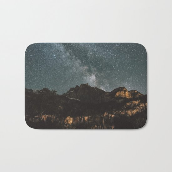 Space Night Mountains - Landscape Photography Bath Mat