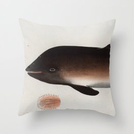 Vintage Illustration of a Dolphin (1785) Throw Pillow