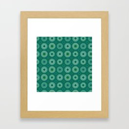 Retro Blue Green Polynesian Floral Mandala Pattern Framed Art Print