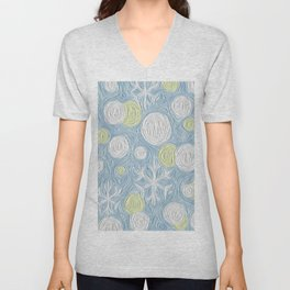 Christmas Time Frozen Snowballs and Snowflakes Art Work Unisex V-Neck