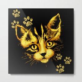 Cute Cat Portrait with Paws Prints Metal Print