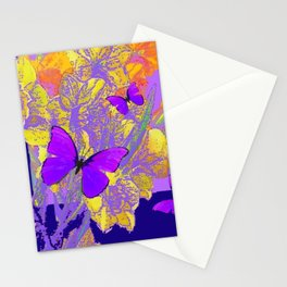 PURPLE AMETHYST  BUTTERFLIES GOLDEN FLORALS ABSTRACT Stationery Cards