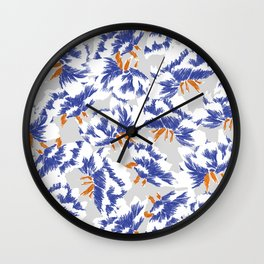 Japanese peonies pattern - blue and orange Wall Clock