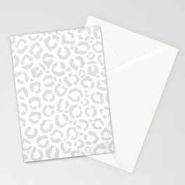 Elegant White Gray Leopard Cheetah Animal Print Stationery Cards