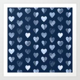 Denim Patch Boro Embroidery Hearts Art Print