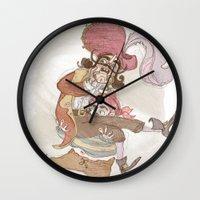 captain hook Wall Clocks featuring Captain Hook by Samantha Kay Davies