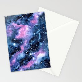 Twinkling Pink Watercolor Galaxy Stationery Cards