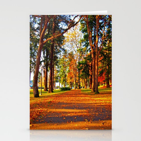 Autumn pathway Stationery Cards