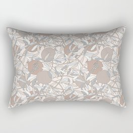 Pale Winter Hues Pomegranate Fruit Branches with Leaves Rectangular Pillow