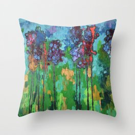 Abstract Flowers Throw Pillow