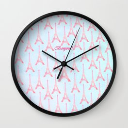 Chic pink teal watercolor Eiffel Tower pattern  Wall Clock