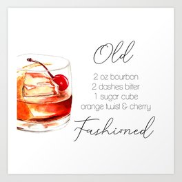 Cocktail Recipe. Old Fashioned. Art Print