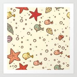 Cute Vintage Style Sea life Seamless Pattern Art Print