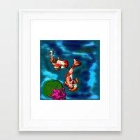 koi fish Framed Art Prints featuring KOI FISH by aztosaha
