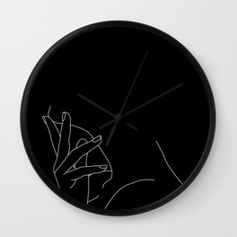 Hand on neck line drawing - Josie Black Wall Clock